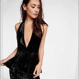 Express black velvet backless halter top size 4